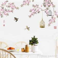 Birds Flying Among Flowers Tree Branches Wall Stickers Living Room Bedroom Background Decor Wall Mural Poster Art Birdcage Wall Decals Home Wall Sticker Home Wall Stickers From Magicforwall 5 01 Dhgate Com