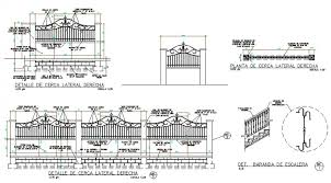 Detail Of Right Side Fence Section Plan Autocad File Cadbull