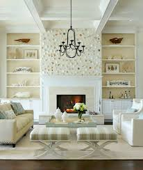 shell wall above fireplace in an