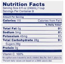 cranberry juice nutrition label
