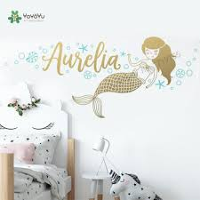 Mermaid Wall Stickers Custom Name Vinyl Decals Girls Room Personalized Name Wall Decal Kids Room Mural Custom Nursery Decorzw479 Buy At The Price Of 5 25 In Aliexpress Com Imall Com