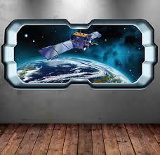 Full Colour Spaceship Space Window Wall Art Sticker Decal Boys Bedroom Wsd289 Ebay