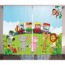 Amazon Com Ambesonne Cartoon Curtains Kids Nursery Design Happy Children On A Choo Choo Train With Safari Animals Artwork Living Room Bedroom Window Drapes 2 Panel Set 108 X 63 Multicolor Home