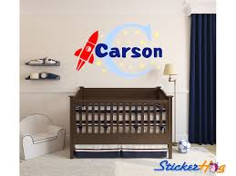 Rocket Name Monogram Boys Kids Wall Decal Vinyl Sticker Wall Decor