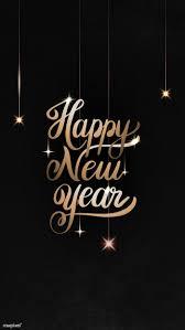 premium vector of happy new year black greeting card