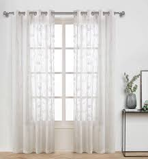 Nursery Kids Bedroom Essential Sheer Curtains With White Disperse Printing Floral Patterns With Abstract Buds And Petal Window Panels For Living Room Thin And Soft Grommet 84 Inch Long Set White