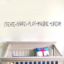 Cartoon Create Share Play Imagine Dream Wall Sticker Baby Nursery Kids Room Inspirational Qutoe Wall Decal Bedroom Vinyl Decor Wall Stickers Aliexpress