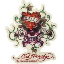 New Ed Hardy Skull Love Kills Slowly Cling Blings Rhinestone Decal Sticker Ebay