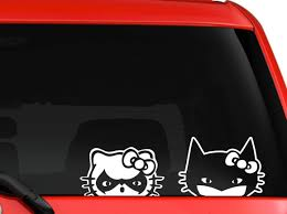 Amazon Com Hello Kitty Batman And Robin Peeking On Car Truck Suv Window Laptop Kitchen Wall Macbook Decal Sticker Approx 10x4 Inches White By Mono Decals Computers Accessories