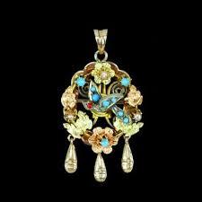 antique victorian bird pendant pin