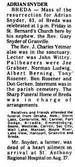 Obituary for ADRIAN SNYDER (Aged 63) - Newspapers.com