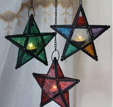 metal star glass lantern hanging candle