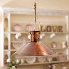 hand hammered copper pendant lamp by