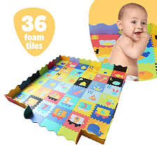 Amazon Com Baby Foam Play Mat With Fence Interlocking Alphabet Crawling Mat With 36 Foam Floor Tiles Baby