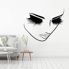 Beauty Salon Decor Long Eyelashes Vinyl Wall Sticker Face Girl With Lashes Eyelash Wall Decal Lash Bar Center Wall Poster Az422 Wall Stickers Aliexpress