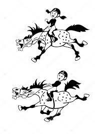 Kleine Jongen En Meisje Pony Renners Zwart Wit Foto Stockvector