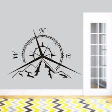 Sea Nautical Compass Wall Decal Compass Design Home Decor Mountain Compass Rose Wall Art Sticker Removable Wall Art Az122 Wall Stickers Aliexpress
