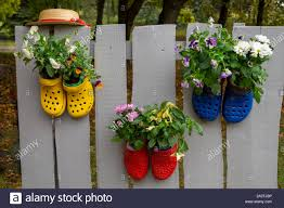 Vivid Colorful Pairs Of Rubber Shoes Nailed To Wooden Fence And Used As A Flower Pots With Plants Growing In Them Garden Decoration Concept Stock Photo Alamy