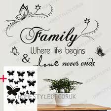 Large Family Wall Quotes Decal Wall Stickers Free 16 Butterflies Home Art Decor Ebay