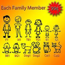 Stick Figure My Family Car Decal Sticker Pet Dog Cat Window Bumper Vinyl Ebay