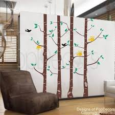 Vinyl Wall Tree Decals Nursery Decal Owl Decals Wall Sticker Birch Trees Owls And Birds 102 Inch H Designed By Vinyl Wall Tree Owl Wall Decals Tree Decals