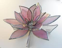 3d pink lotus flower stained glass by