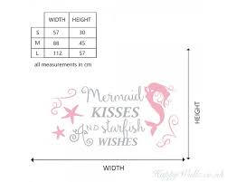 Mermaid Kisses And Starfish Wishes Wall Decal Nursery Quote