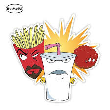Hotmeini 13cm X 12 9cm Aqua Teen Hunger Force Sticker Decal Funny Auto Sticker Car Styling Motorcycle Car Decal Accessories Leather Bag