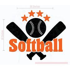 Bedroom Decor Softball With Bats Stars Teen Wall Sticker Decals Art 23x19 Inch Orange Black Walmart Com Walmart Com