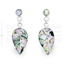 abalone coca leaf earrings intika