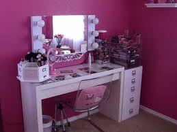 white color vanity table with lights