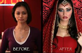 indian bridal before and after make up