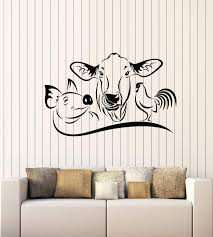 Amazon Com Vinyl Wall Decal Farm Animals Cow Pig Rooster House Pets Stickers Mural Large Decor G1343 Black Home Kitchen