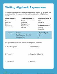 writing algebraic expressions writing