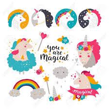Conjunto De Bebe Unicornio Y Arco Iris Ilustraciones Para Ninos