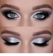 silver and blue eye makeup cat eye makeup