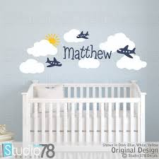 Airplanes And Clouds Nursery Wall Decals Airplane Room Decor Etsy