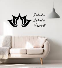 Vinyl Wall Decal Inhale Exhale Repeat Quote Lotus Flower Buddha Buddhi Wallstickers4you