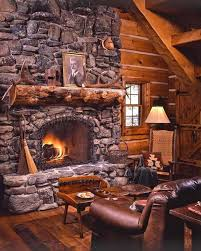 cabins with a stone fireplace