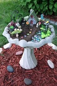 gnome garden in a bird bath fairy