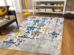 funky yellow and blue area rugs when