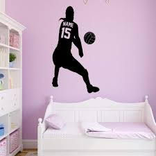 Vwaq Personalized Volleyball Wall Decal Custom Name Wall Decor For G