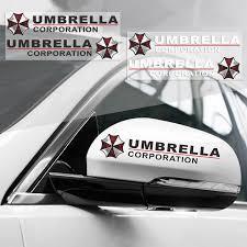 2pcs X Car Sticker Umbrella Corporation Rear View Mirror Reflective Decal Vinyl Ebay
