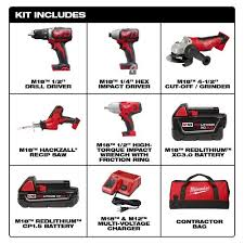 Home Depot Milwaukee M18 18 Volt Lithium Ion Cordless Combo Tool Kit 5 Tool With Two Batteries Charger Tool Bag 299 2695 25cxh