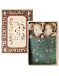 maileg baby twins mice in box