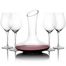 5 piece wine glass decanter set