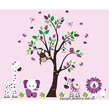 Amazon Com Purple Animal Wall Decals Purple Themed Nursery Decor Baby Girls Nursery Decals Kids Nursery Furniture Jungle Animal Wall Decals Large Animal Wall Stickers Baby Room Stuff Baby
