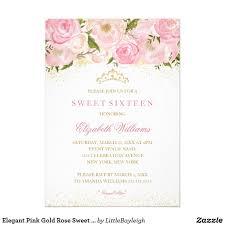 Elegant Pink Gold Rose Sweet Sixteen Invitation Zazzle Com