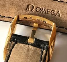 omega 18mm black leather strap amp 18k