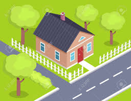 Cottage Two Storey House Side View With Fence Royalty Free Cliparts Vectors And Stock Illustration Image 90787068